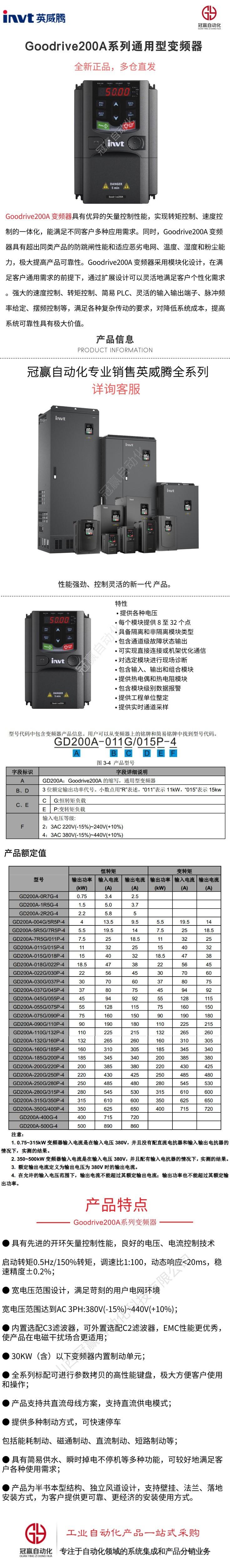 Goodrive200A系列通用型开环矢量变频器